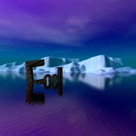create an iceberg and a cool text using bryce