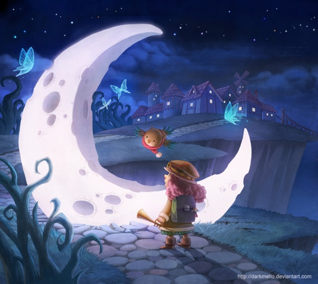 moon and a kid fairy tale children illustration