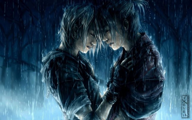 lovers in rain painting