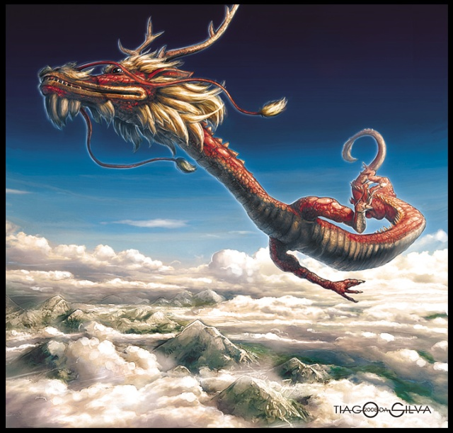 Flying dragon in a cloudy sky