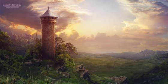 tower matte painting