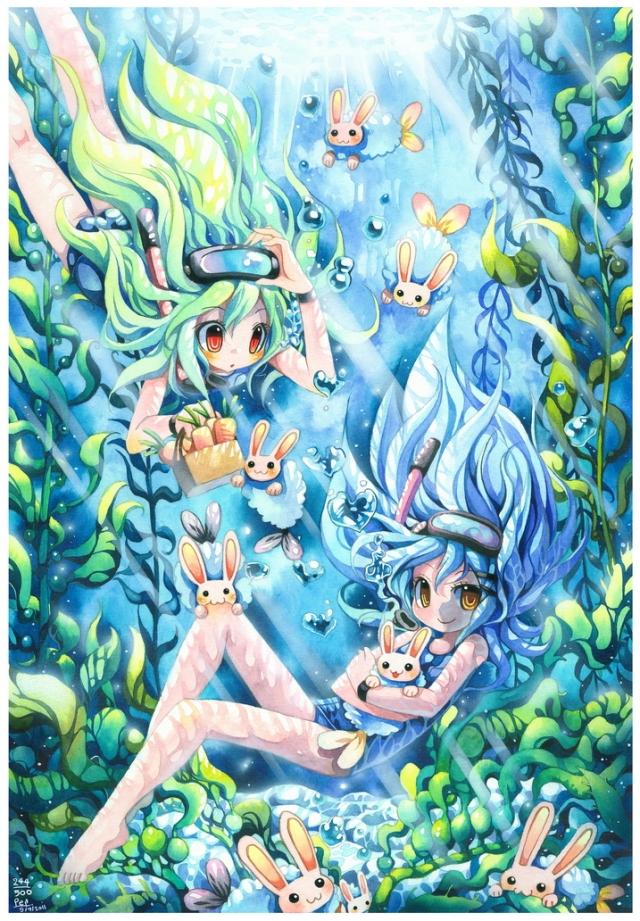 cute manga anime painting