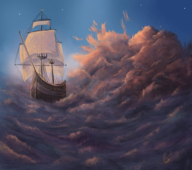 ship in water painting