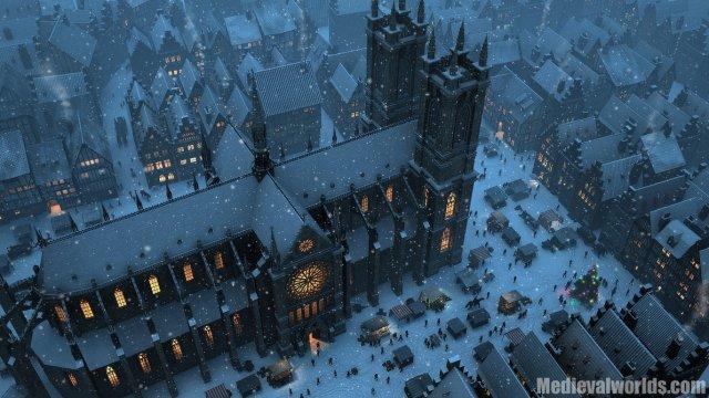 3d render buildings on Christmas night