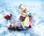 ganpati ganesh riding in the sky clouds
