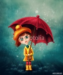 Girl with an umbrella illustration