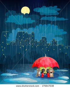 stock-vector-child-under-an-umbrella-in-night-city-landscape-with-night-city-rain-and-moon-175647038