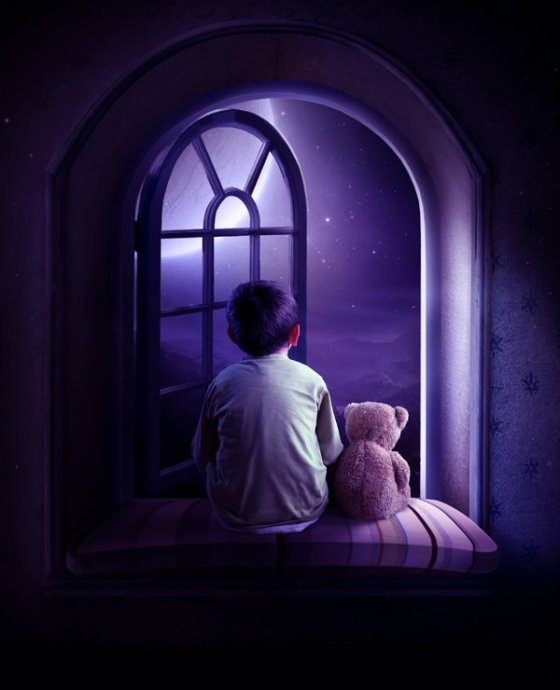 A small boy/kid with a teddy bear sitting beside the window photo manipulation by elena dudina