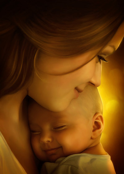 mother and son photo manipulation by elena dudina