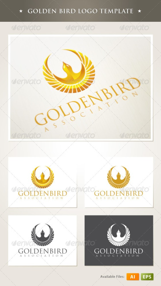 Golden bird logo template