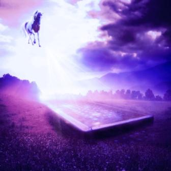 horse landscape fantasy flying light rays