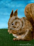cute-fun-illustration-digital-painting-very-innocent-squirrel-grass-cloudy-blue-sky-background-its-graphic-64383695